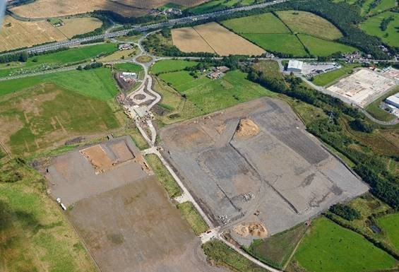 View from above of the Logistics North site, surrounded by green fields