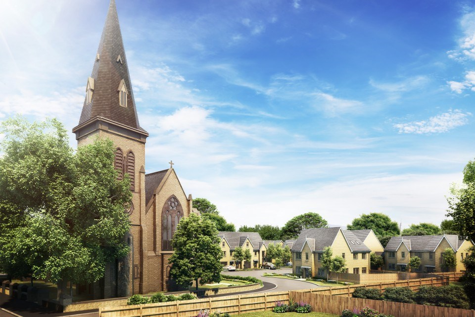 "Architect's impression of the site known as, ""The Church, St Stephens"" in Floweryfields, once it has been converted into 16 large one and two bedroom apartments"