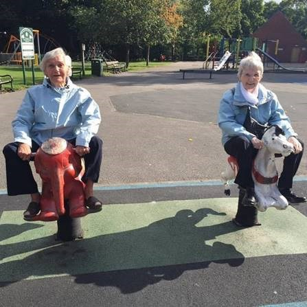 Maureen Maunsell and Sheila Wallin, pictured on a children's playground